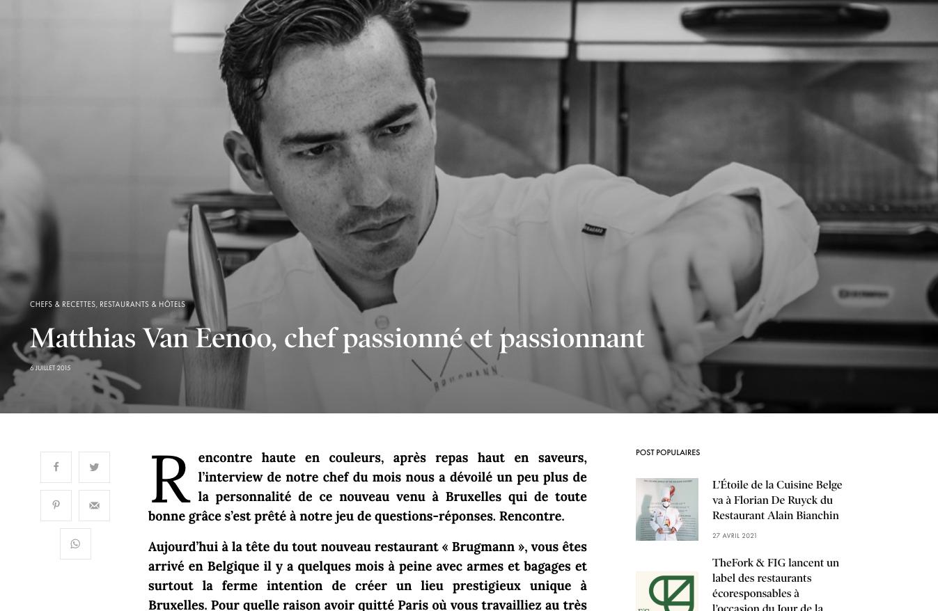article matthias Van eenoo chef passioné
